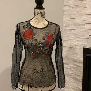 Floral Polka-dot Mesh long sleeve